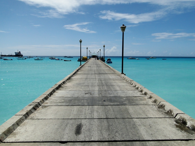 Dock Jutting Out into Clear Blue Waters of Barbados