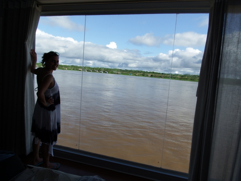 Looking Out From Aria River Boat on Amazon in Peru