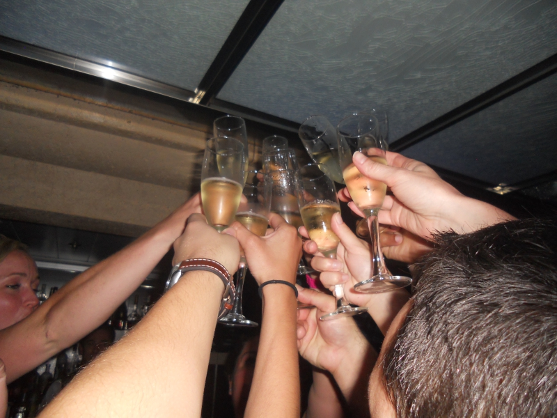 Champagne Celebration on the Ship