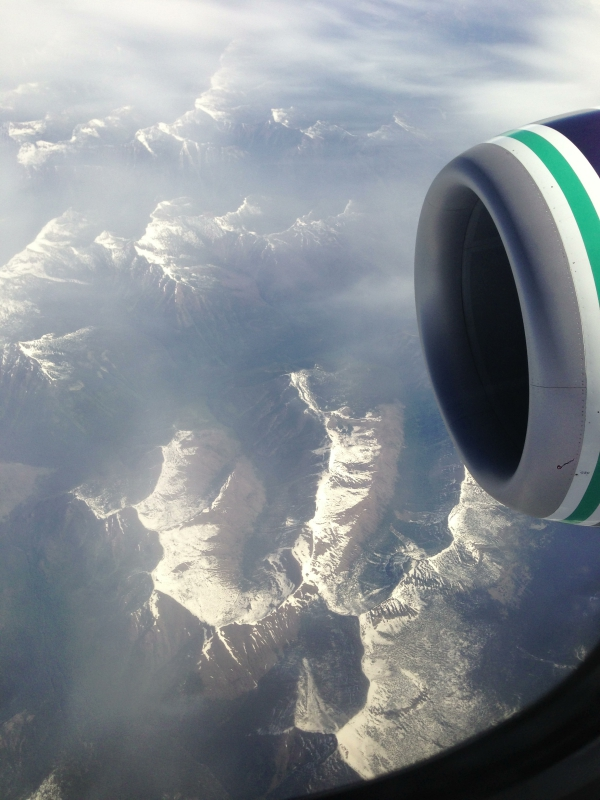 Flying into Seattle over the Casacde Mountains