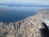 Flying over Seattle Washington