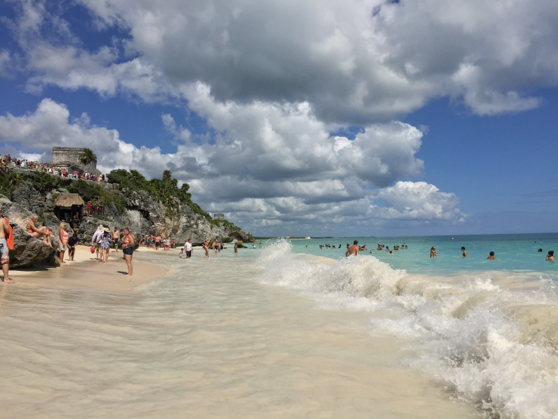Beach at the Mayan Ruins Tulum Mexico