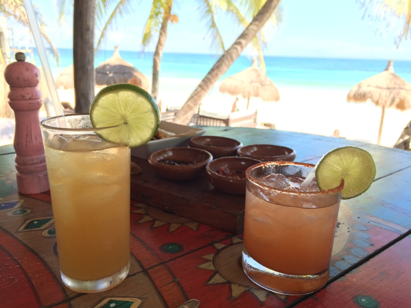 Margaritas at La Zebra in Tulum Mexico