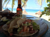 Fish Tacos and a Victoria at La Zebra in Tulum Mexico